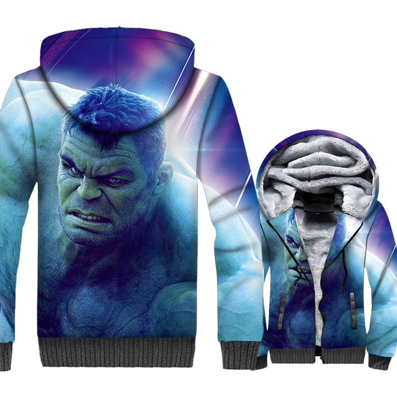thick zip wool liner streetwear clothes Super hero funny Hulk 3D printed jackets coats harajuku hoodies men 2019 winter clothing