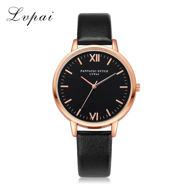 2017 Lvpai Top Brand Women Bracelet Watch Contracted Rose Gold Leather WristWatc