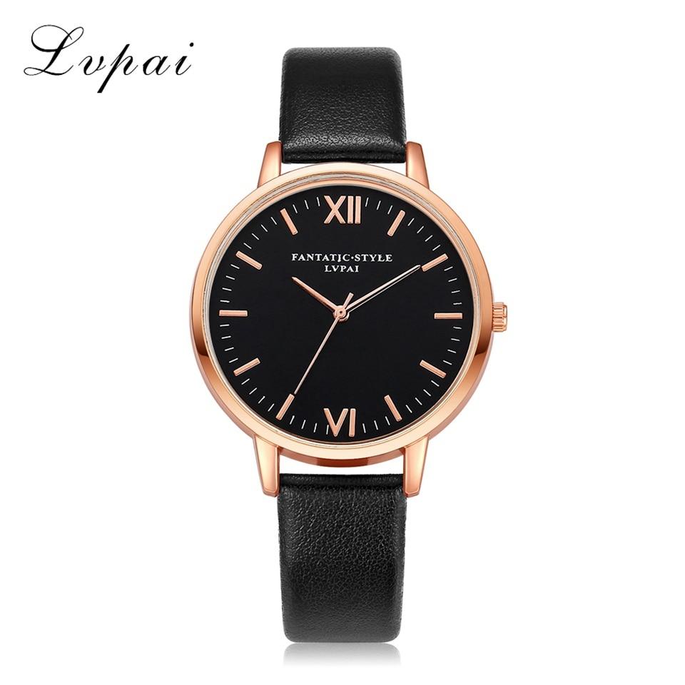 Lvpai Top Brand Women Bracelet Watch Contracted Rose Gold Leather WristWatches Women Dress Ladies Quartz Clock Dropshiping