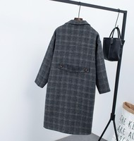 New winter clothing plus velvet thick woolen jacket female Korean version of the long loose large size Plaid woolen coat 2