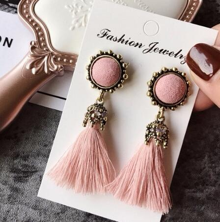 2016 Fashion Vintage Earrings For Women Jewelry Bright Brick Earrings Flower Long Tassel Drop Earrings Dangle Brincos