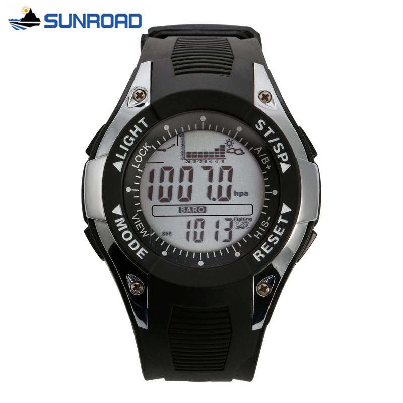 SUNROAD Fishing Watches Mens Womens Waterproof Barometer Altimeter Thermometer Stopwatch Hiking Running Digital Sport Watch saat