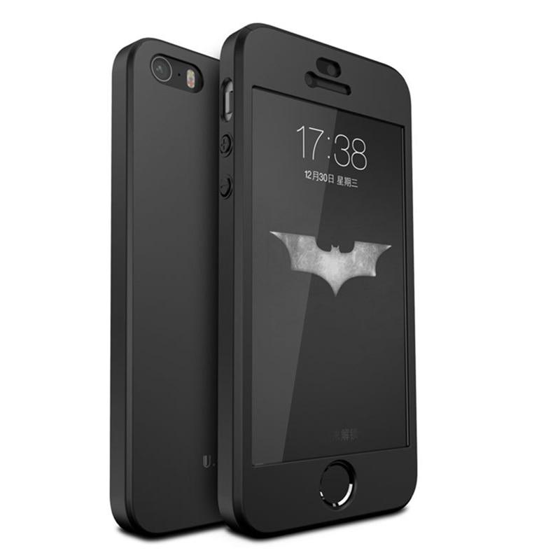 100% ORIGINÁL Boomboos luxusní, plná ochrana, pevné plastové pouzdro pro iphone SE pro iphone 5s s tvrzeným sklem, fólie černá