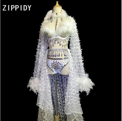 Mode Sexy Multicolore Strass Plume Soutien-Gorge Court Maille Longue Queue Outfit Set Costume Féminin Chanteur Danseur Afficher Stage Porter