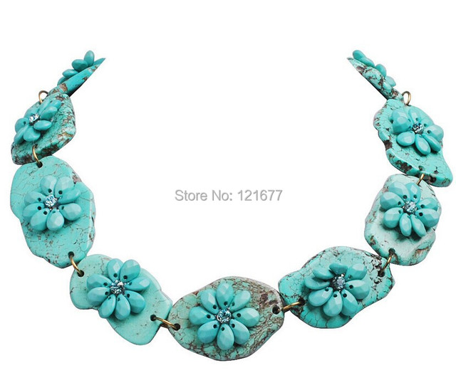 Fashion Personalized Turquoise Stone Chunky Statement Necklace Modern Concise Punk Style Stone Flower Choker Vintage Jewelry