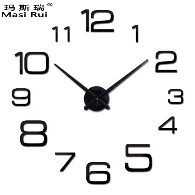 NEW Hot sale ! DIY large wall clock modern design decorative mirror digital relogio de parede 3d wall watch stickers clocks