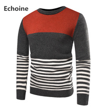 Men Winter Sweater Striped Pullover Mens Patchwork O-neck Knitting Male Clothing Casual Loose Knitted Pullovers