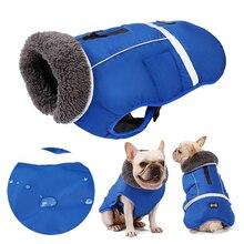 Дизайнерская зимняя одежда для собак, Водонепроницаемые Светоотражающие стеганые куртки для собак средних и больших размеров, теплое плотное флисовое пальто для питомцев, регулируемое