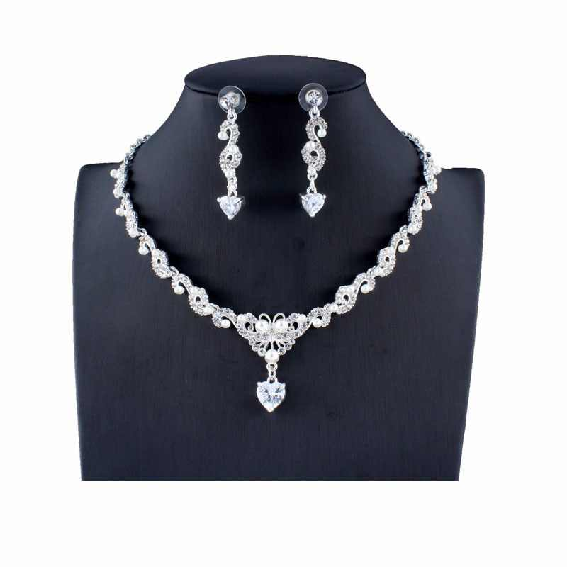 jiayijiaduo New bridal jewellery set for glamour women wedding dresses accessories zircon necklace earrings set gold color