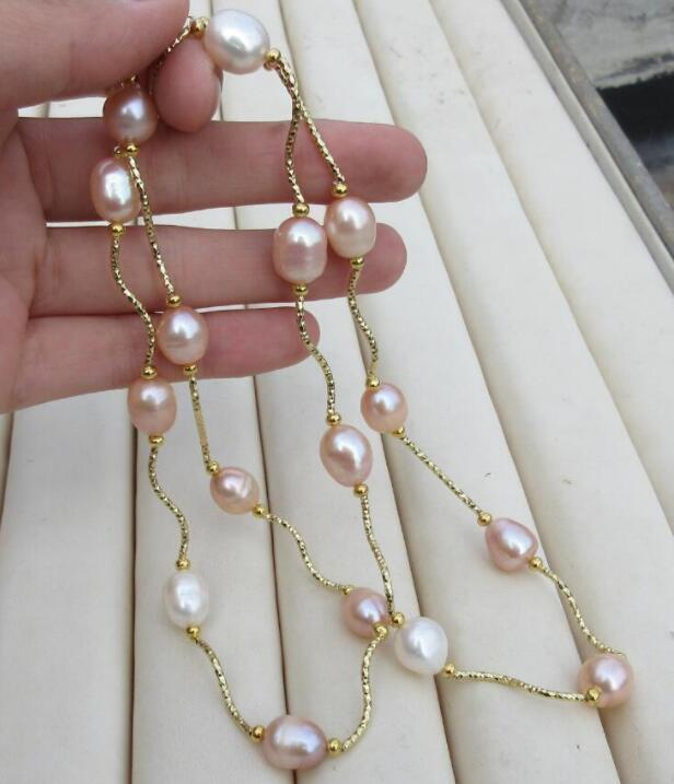 hot 9-11mm real photos natural south sea Purple white pearl necklace 25 inch 925silverhot 9-11mm real photos natural south sea Purple white pearl necklace 25 inch 925silver