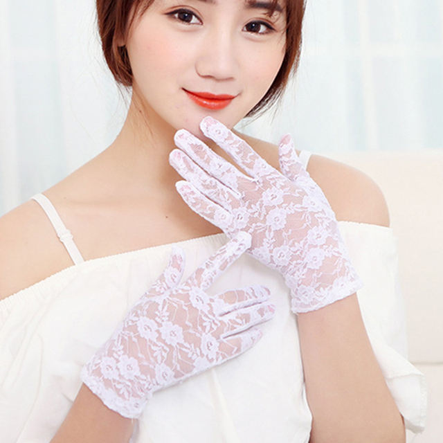 New Sexy Women Lace gloves Wrist full finger Ladies Evening Party Gloves sheer lace flower gloves mittens Black purple red 2