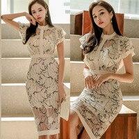 2019 Plus Size Lace Dress Vadim Women's Clothing Summer Dress Ol Temperament Slim Lotus Leaf Sleeve Hip Sexy Lace Print Woman