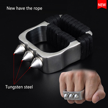 High Quality Tungsten Steel Self Defense Supplies Ring Women Men Safety Survival Finger Ring with Chain Stainless steel weapon