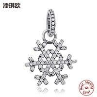 Retro Luxury 100% 925 Sterling Silver Rõ Ràng zircon Snowflake Pendant Charm Fit pandora Hạt Vòng Đeo Tay Necklace Jewelry TỰ Làm