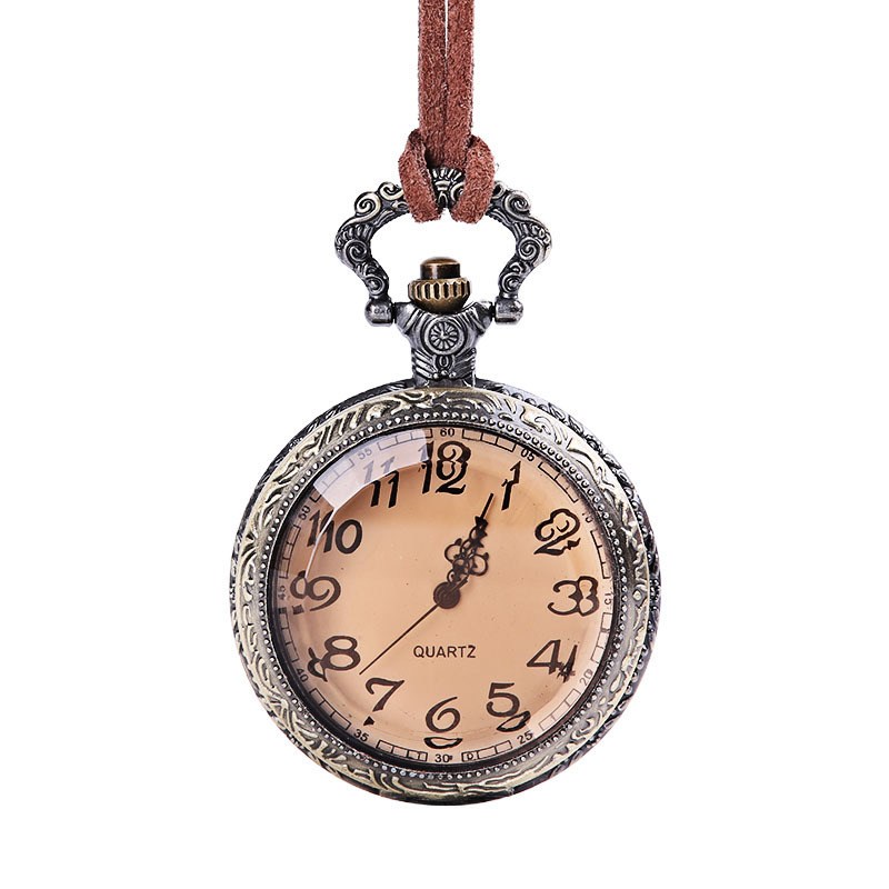 Pocket Watch Vintage Bronze Design Quartz Pocket Watches Women Men Necklace Gift Fob Clock With Chain