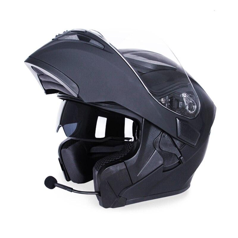 JIEKAI Double Visor Flip Up Casque Motocross Équitation Racing 4 Saisons Casques Coiffures Casque Capacete Casco pour Bluetooth