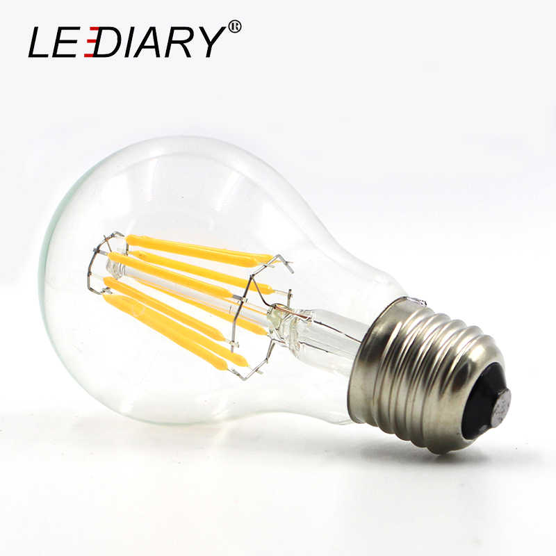 LEDIARY 5PCS Dimmable Retro E27 LED Filament Bulb Light Bombilla LED E27 220V-240V 2w/4w/6w/8w/12w A60/G45 E27 Edison LED Lampen
