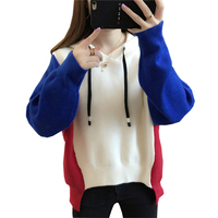2018 Autumn Winter Loose Pullovers Sweater Female Hooded Casual Knitted Sweaters Tops Fashion Patchwork Short Sweaters FP1382