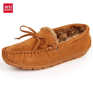 Image 2 - WeiDeng Suede Fur Moccasins Warm Genuine Leather Women Shoes Plush Boat Flats Female Casual Slip On Winter Snow Boots Slipper
