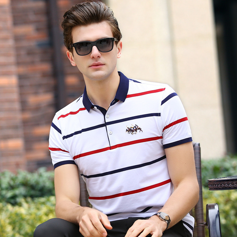 2018 Top Gradient 2019 New Men's   Polo   Shirt Mens Short Sleeve Shirts Brand Clothing Male Striped Boys Stand Collar   Polos   3xl