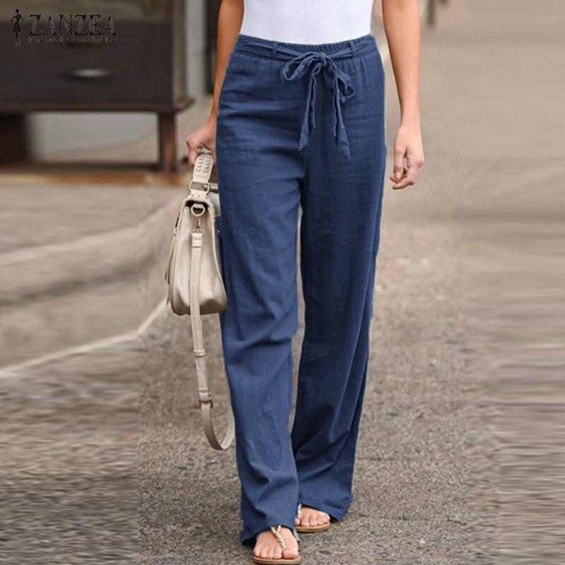2019 Fashion ZANZEA Women Causal Cotton Linen Pants Plus Size Lady Straight Trousers Elastic Waist Turnip Long Pantalones Mujer