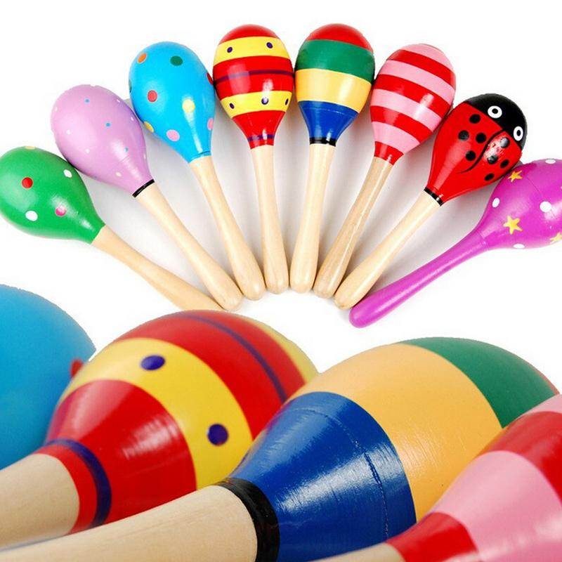 1Pcs 12x4cm Wooden Maraca Baby Rattles Sand Hammer Kids Musical Party Favor Child Baby Shaker Toy