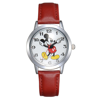 Disney students watches mickey mouse leather quartz children boys clocks black blue brown casual waterproof original wristwatch