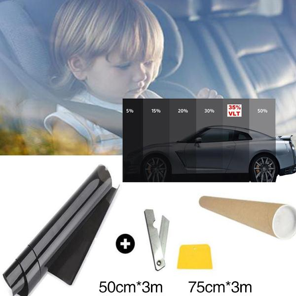 75x300CM Black Car Window Tint Film Glass VLT 5% Roll Car Auto House Commercial Solar Protection Side window Tint film Summer