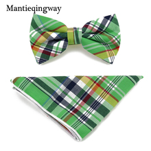 Mantieqingway Cotton Plaid Bow Tie and Handkerchief Set