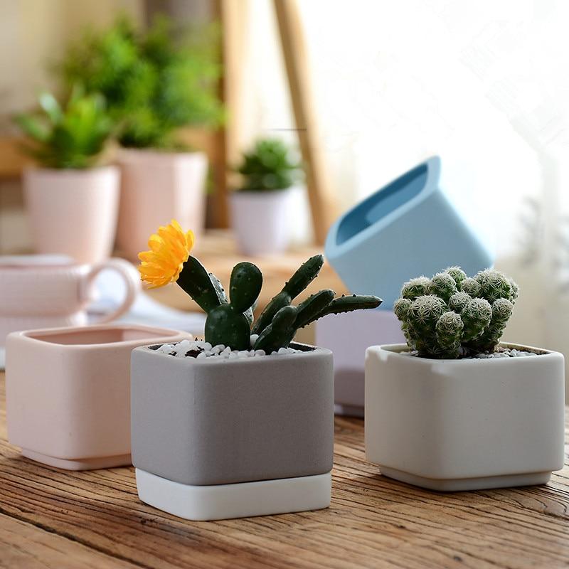 Mini Ceramic Flower Pots Planters For Succulents Indoor Modern Planters  Indoor Gardening Square White Ceramic Pot In Flower Pots U0026 Planters From  Home ...