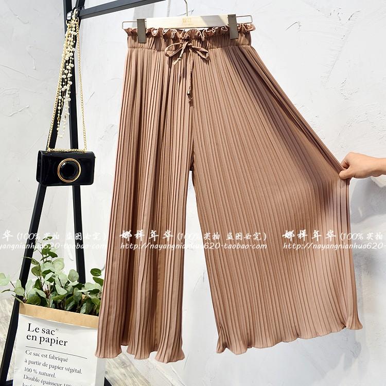 2019 Summer High Waist Lace Up Waist Pleated Pants Women Loose Wide Leg Chiffon Pants Lady Lace Up Waist Ankle Length Pants 44