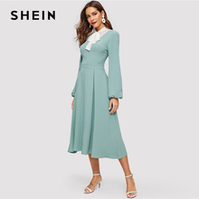 4a9ed981d8 SHEIN Elegant Mint Color Tied Contrast Yoke Box Pleated Dress Women Spring  Fit and Flare Bishop