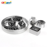 24pcs Set Geometric Shapes Mold Stainless Steel Cookie Cutter Baking Mold Cake Decorating Tools Stainless Steel