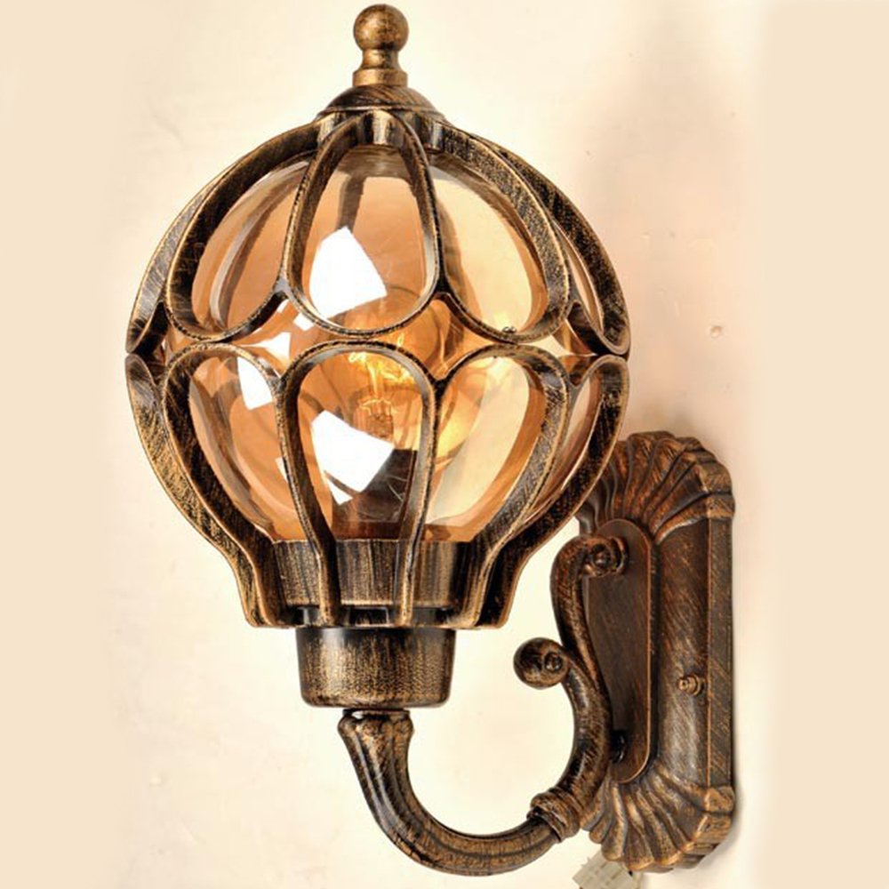 Фото Loft Vintage Outdoor Waterproof Aluminum Glass Shade Wall Lamps Retro European Villa Garden Aisle Corridor Balcony Wall Sconces