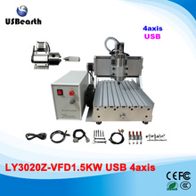1500w 4 axis engraving milling machine 2030 cnc drilling machine with usb port, no tax to Russia