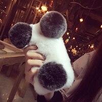 Luxury Handmade Rabbit Full Furry Animal Hair Panda Phone Case for Huawei Honor V10 V9Play V8 Winter Soft Warm Honor10 9 7X 6X 8