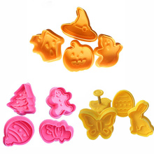 4pcs Cookie Stamp Biscuit Mold Snowman Plunger Cutter Easter Rabbit Egg Christmas Cutters Baking