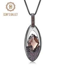 GEM'S балетные 925 пробы серебряные драгоценные камни ювелирные украшения натуральный дымчатый кварц винтажный в стиле панк готика кулон ожерелье для женщин
