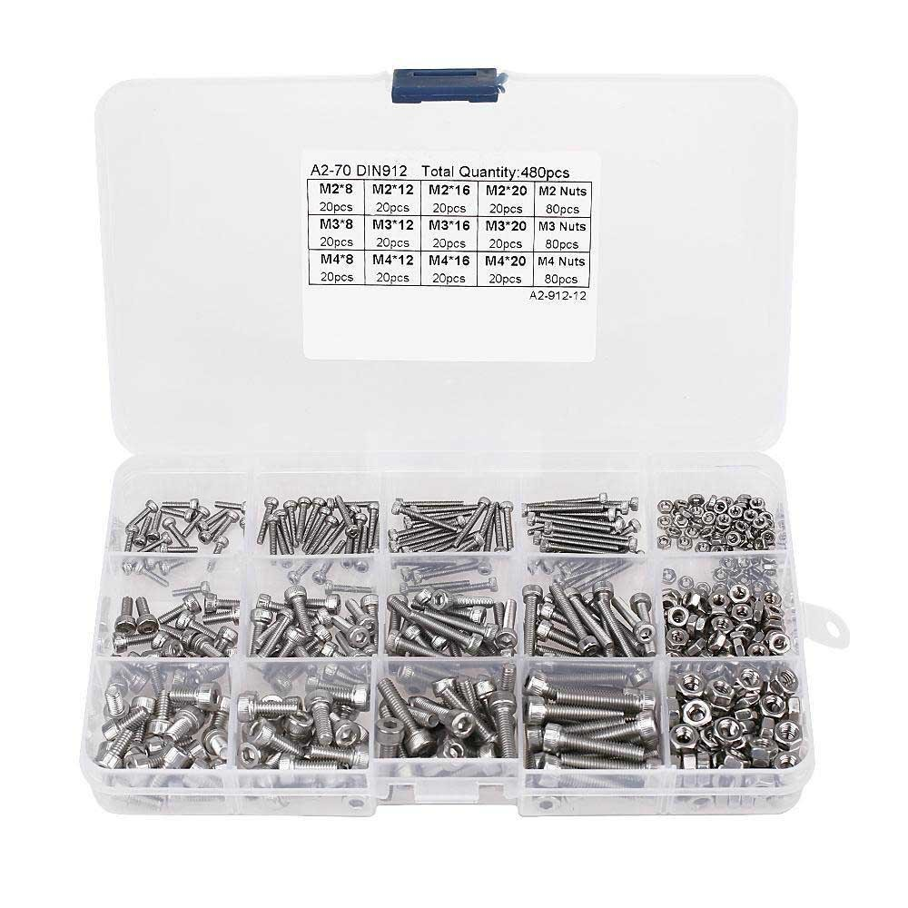 480PCS Screw and Nut Kit Assorted Hex Socket Head Cap Bolts Nuts M2/M3/M4 Stainless Steel Screw and Nuts Hex Socket Screws Set