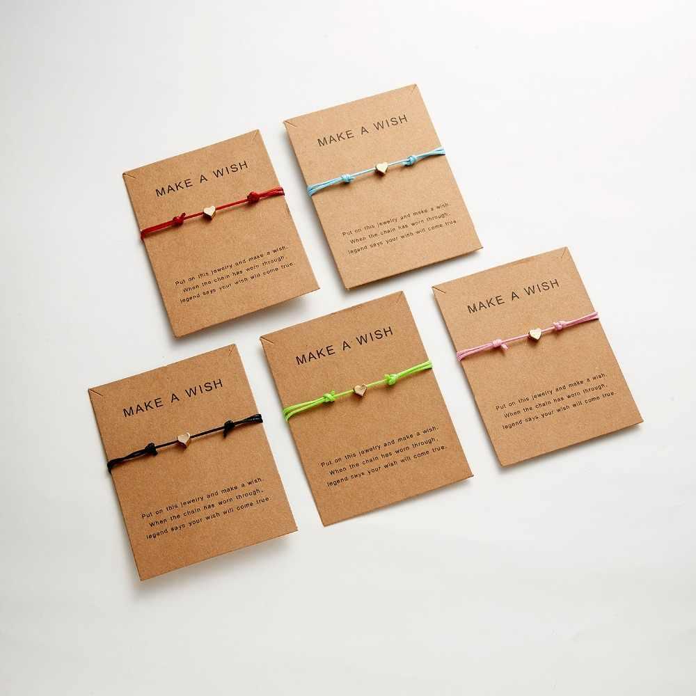 シンプルなチャームブレスレット黒赤色ミニマリスト調節可能なロープ文字幸運ブレスレットハートスターのための恋人