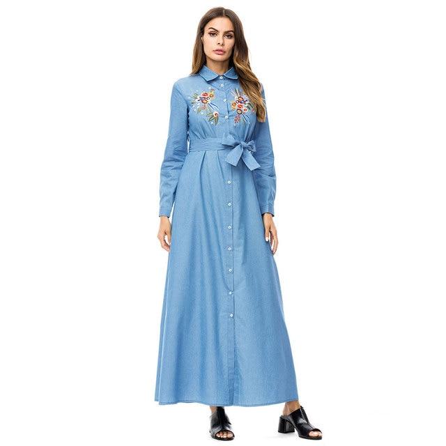 31944e21cef 2019 Women Floral Embroidery Maxi Denim Shirt Dress With Sash Turn Down  Collar Autumn Ethnic Muslim