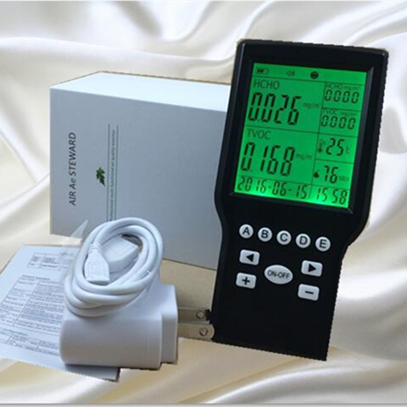 Free shipping personal TVOC Formaldehyde Detector, digital data display gas instrumentAir quality monitor from Ohmeka uyigao ua506 for ppm htv digital formaldehyde test methanol concentration monitor detector withlcd display sound and light alarm