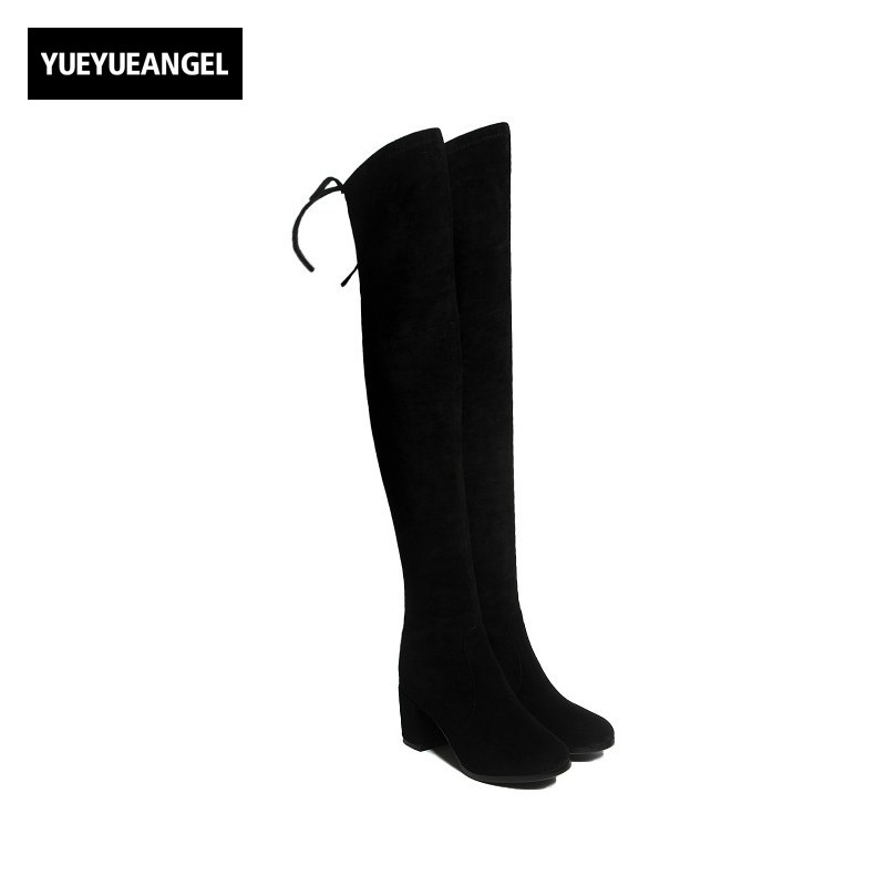 Sexy Slim Fit Womens Thigh High Boots High Quality Soft Sheepskin Suede Genuine Leather Womens Shoes Comfort Block Heel Footwear women stretch fabric faux suede patchwork sexy thigh high boots comfort block heel female footwear slip on flower printed shoes