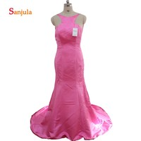Fuchsia Satin Bridesmaid Dress for Girls Scoop Mermaid Maid of Honor Dress Backless Ruffles Night Party Dressabendkleider D31
