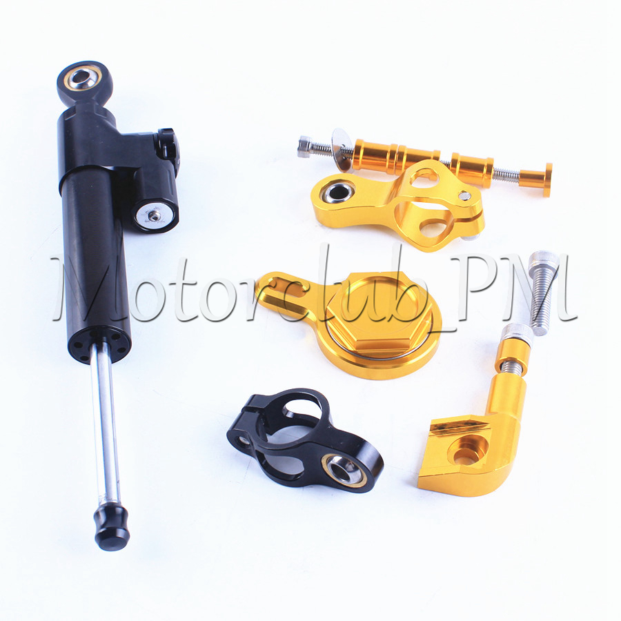For Yamaha YZF R1 1999-2005 Steering Damper Stabilizer With Mounting Bracket Kit Gold Motorcycle Accessories New new motorcycle steering damper stabilizer with mounting bracket kit for yamaha yzf r3 2014 2016 gold aluminum high quality