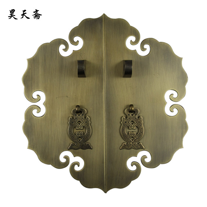 [Haotian vegetarian] bronze Chinese Ming and Qing antique furniture copper fittings brass lock piece door handle copper live wis free shipping chinese antique furniture handle lock counter