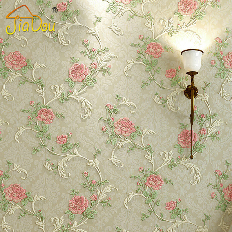 Romantic Pastoral Bedroom Non-woven Wallpaper 3D European Rose Flower Living Room Sofa TV Background Wall Wallpaper Home Decor