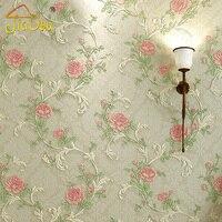 Romantique Pastorale Chambre Non-tissé Papier Peint 3D Européenne Rose Fleur Salon Canapé TV Fond Mur Papier Peint Décor À La Maison