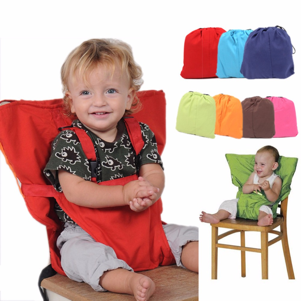 Travel Foldable Baby Dining Lunch Chair Portable Infant Feeding Seat Safety Belt Washable Baby Seats High Chair Harness 7 Colors