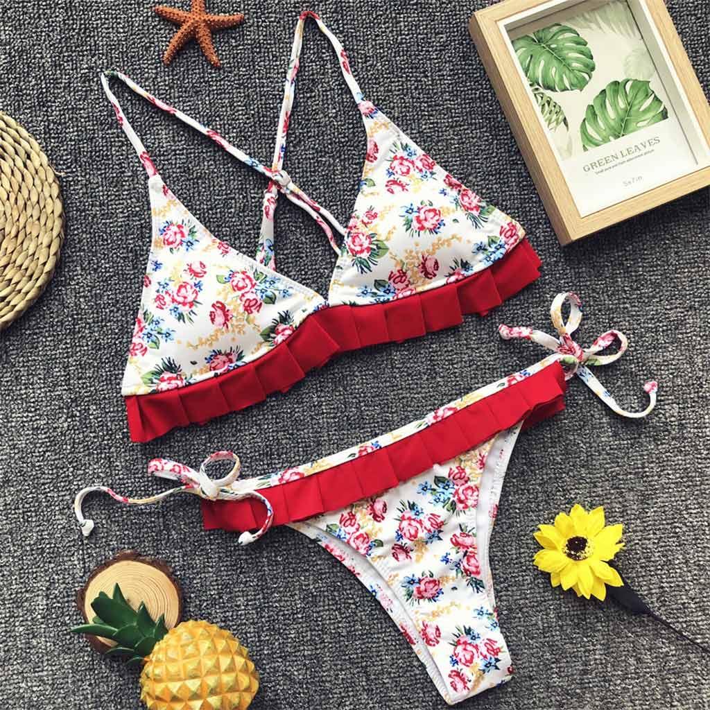 89f2cfd0d5 Sexy Swimwear Women Ruffle Bikini Set Triangle Bathing Suit Floral Print  Swimming Suit Ruched Swim Suit Maillot De Bain Swimsuit